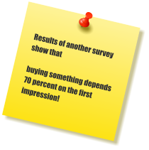 Results of another survey show that   buying something depends 70 percent on the first impression!